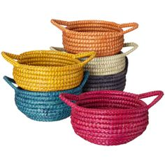 Round Sea Grass Basket with Handles - for product (use orange, yellow, and white)
