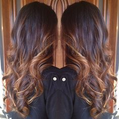 Brunette and Caramel Balayage Babe. Spring hair. #StyledByKate Instagram: @StyledByKate_