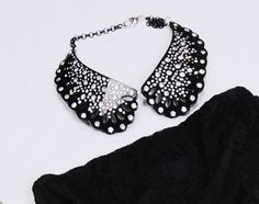 Black Collar with swarovski By Sweet Papillon $199
