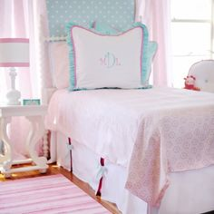 Will be doing a monogrammed pillow for sure and really like the bed skirt but also love a heavy ruffled bedskirt...what to do?!