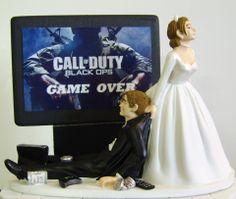 VIDEO GAME 'junkie' Groom Customized Wedding Cake Topper.  The ORIGINAL Video Game cake topper....not a copy cat.