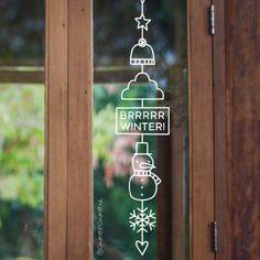 Brrrr Winteranhänger – Laden – # Winteranhänger - Decorating With Christmas Night, Simple Christmas, Christmas Holidays, Christmas Decorations, House Decorations, Diy Crafts To Do, Xmas Crafts, Nail Noel, Decoration Vitrine