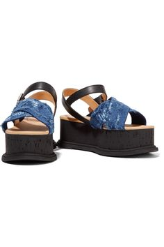 Shop on-sale MM6 Maison Margiela Distressed denim and leather sandals. Browse other discount designer Sandals & more on The Most Fashionable Fashion Outlet, THE OUTNET.COM