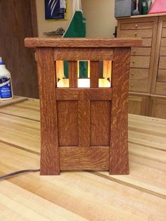 "Arts & Crafts Era Inspired Lamp, dimensions are roughly 13.5"" high x 9.5"" wide x 7"" deep"