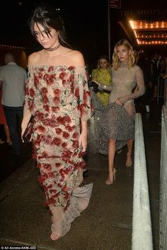 Party on: Hailey followed her friend Kendall as they both left the Harper's Bazaar bash