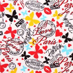 white stamp butterfly fabric 'Paris Words' Timeless Treasures USA 1