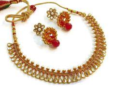 Gorgeous Kundan Red Polki #NecklaceSet #Jewellery  #craftshopsindia
