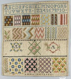 Sampler ~ Anna Navarro ~ alphabet, numerals and initials ~ 19th century ~ Spanish ~ silk on canvas ~ Embroidered textiles ~ Metropolitan Museum of Art