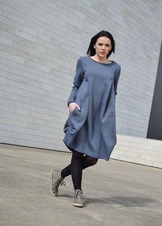 Gray Cotton Dress // Long Sleeve Loose Fitting Shirt Coat Dress in Gray // Maternity dress // Stylish & Comfy // Warm // Heavy Duty