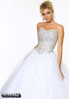 97081 Prom Dresses / Gowns Jeweled Bodice on Beaded Tulle Ballgown White