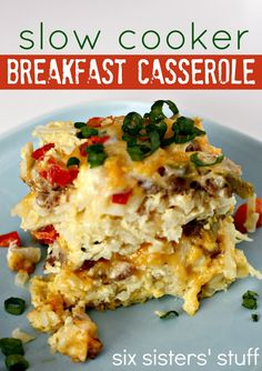 Slow Cooker Breakfast Casserole from SixSistersStuff.com. Cooks all night for a delicious breakfast in the morning! #breakfast #recipe  1 (30 oz) package frozen shredded hash brown potatoes  1 lb ground sausage (I used Italian sausage), browned and drained  2 cups shredded cheddar cheese  1/2 cup shredded mozzarella cheese  1 onion, diced  1 green pepper, diced  1 red pepper, diced  12 eggs  1/2 cup milk  1/2 teaspoon salt  1/4 teaspoon ground black pepper