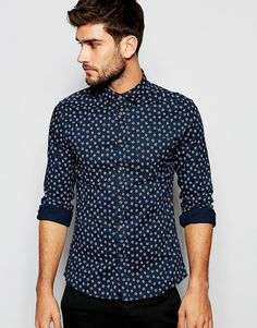 Image 1 of ASOS Skinny Shirt With Cross Hatch Design In Long Sleeve
