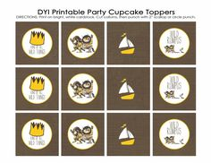 Where the Wild Things Are matching cupcake toppers, digital, DIY printable file. $10.00, via Etsy.
