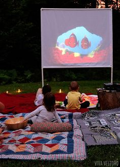 DIY outdoor movie screen.