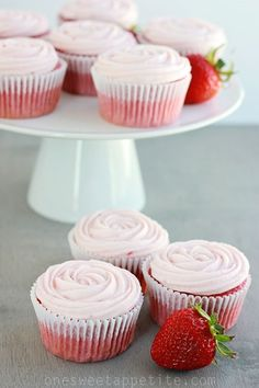 Strawberry Cupcakes (Doctored Cake Mix) - One Sweet Appetite