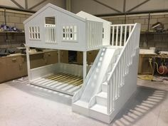 Made to order tree house bunk bed with slide and stairs Toddler Bunk Beds, Loft Bunk Beds, Kid Beds, Bunk Bed With Slide, Bunk Beds With Stairs, Kids Bed With Slide, Tree House Bunk Bed, House Beds, Princess Bunk Beds
