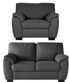 Buy Collection Milano Fabric Regular Sofa And Chair   Charcoal At  Argos.co.uk