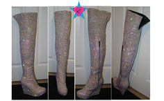 #RhinestoneBoots #thighhigh #boots #customboots #ABrhinestones #clearrhinestones #crystals #rhinestones #thighboots #customize #custom #taylormade #coolshoes #diva #divaboots