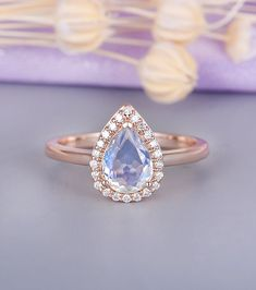 Moonstone engagement ring Vintage Halo Diamond Curved Wedding Women Antique Pear Shaped Stacking Bridal set Promise Anniversary gift for her Rose Gold Moonstone Ring, Gemstone Jewelry, Jewelry Rings, Diamond Wedding Bands, Halo Diamond, Vintage Engagement Rings, Ring Earrings, Custom Jewelry, Natural Gemstones