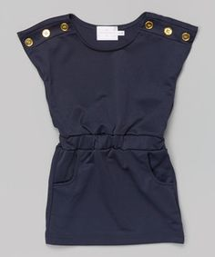 Another great find on #zulily! Navy Button Shoulder Dress - Toddler & Girls by Blossom Couture #zulilyfinds