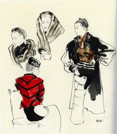 Vogue March 1935, Schiaparelli the three drawings on the right by René Bouet-Willaumez. On the right, Louiseboulanger.