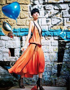 Kiko Mizuhara | Dress and shoes by Gucci | Photog: Ellen von Unwerth | Vogue (Japan) February 2014
