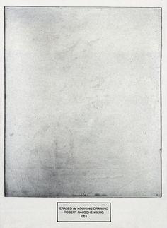 Robert Rauschenberg, Erased de Kooning drawing, 1953    http://theartdaily.blogspot.com/2010/06/robert-rauschenberg-erased-de-kooning.html