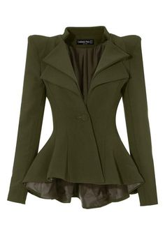What's New // Tired of your usual office outerwear? Doll up your office ensemble with this awesome army green double fit-and-flare blazer.