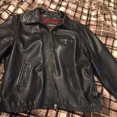 Men's Leather Jacket Very well taken care of, no scratches no stains worn 10 times at the most,  Leather jacket great to ride a Motorcycle Oakwood Jackets & Coats