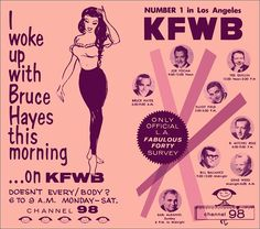 RADIO FREE 1961: Dig this '61 advertisement for station KFWB Los Angeles. Located at  980 kHz (or, as they say here, Channel 98), KFWB was a mostly news-oriented AM station that played some music and sports here and there. Later, it switched to 24/7 news, and just last month (August 2014) I understand it switched to an all-sports station.