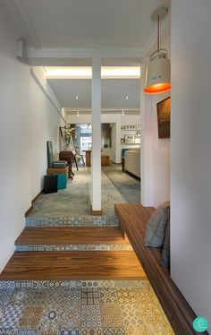 Unique mix tiles and wood elements in the house