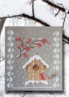 grille point de croix fin d'année, Noël, hiver, neige, bonne année, halloween