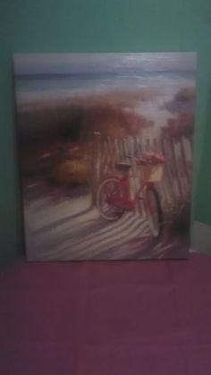 Atlantic Coast Beach Tranquil Beach Scene With Antique Bicycle and Basket of Red