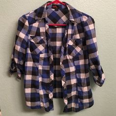 Forever 21 Plaid button down Size S by Forever 21. Blue black and white plaid buttoned down top. Sleeves can be cuffed up. In good used condition & offers considered Forever 21 Tops Button Down Shirts