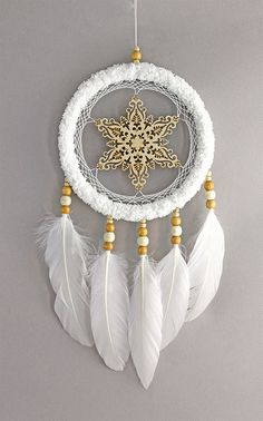 Snowflake dream catcher - white dreamcatcher - winter snow home wall feather decor