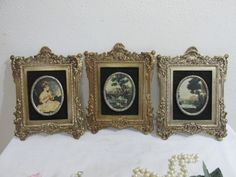 Victorian Pictures Set of 3 in Ornate Molded Plastic Frames by LuRuUniques on Etsy