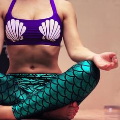 Mermaid yoga outfit complete with a seashell sports bra and Mermaid scale leggings! <3 Ariel inspired