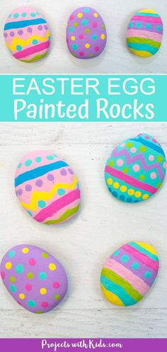 These painted Easter egg rocks are super easy and tons of fun for kids to make! Use them as part of your Easter decor or include them in a non-candy Easter egg hunt! decorating kids Easy Painted Easter Egg Rocks for Kids Easy Easter Crafts, Egg Crafts, Easter Crafts For Kids, Easter Decor, Easter Eggs Kids, Making Easter Eggs, Easter Centerpiece, Bunny Crafts, Easter Activities