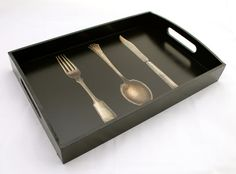 Black Tray Wooden with Antique Cutlery Decoupage by DaisyBelleShop