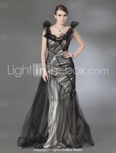 Evening Party Dresses, Lace Sequins Tulle Charmeuse Trumpet/Column - GBP £ 139.19