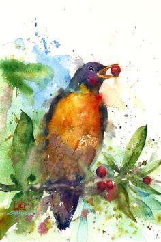 ROBIN Watercolor Bird Print by Dean Crouser. via Etsy.
