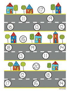 Traffic Teens A Math Game for Numbers 11-20: Review the teen numbers and place value! A fun non-competitive game with recording sheets and 4 ways to play! $