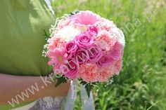 Bukiet ślubny, kulka, róże, gerbery, goździki
