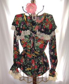 Women's boho - bohemian blouse shirt, gypsy chic shirt flower pattern embellished with lace collar and cuffs, size L to XL by 777DressCode, $54.95