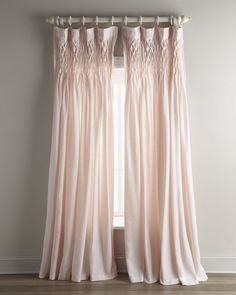 """Pom Pom at Home Each 42""""W x 96""""L Smocked Linen Curtain - Horchow"""