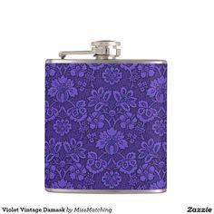 Violet Vintage Damask Hip Flask