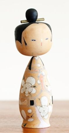 Vintage Large Bobble Head Kokeshi Doll - Japan