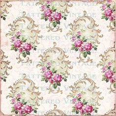 Vintage Wallpaper Sample From 1926 With Floral Pattern