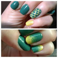 When you change your mind mid-mani. Wanted this color combo but didn't expect a pineapple effect; go ombre!