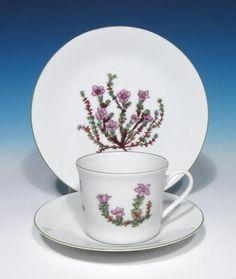 Porsgrund Porcelain Fjellflora Mountain Flower Series Dagny Tande Lid China Trio |